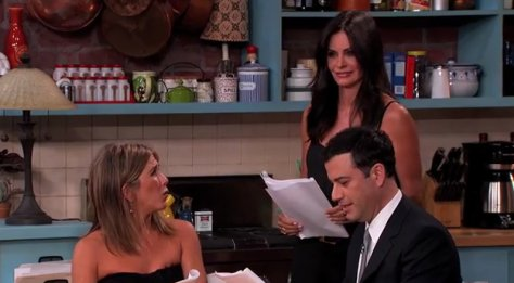 Courteney Cox and Jennifer Aniston join Jimmy Kimmel on Stage
