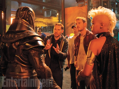Director Bryan Singer on set with Alexandra Shipp (Storm)