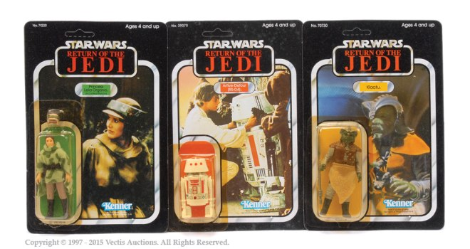 Princess Leia, R5-D4 and Klaatu carded figures sold for £260