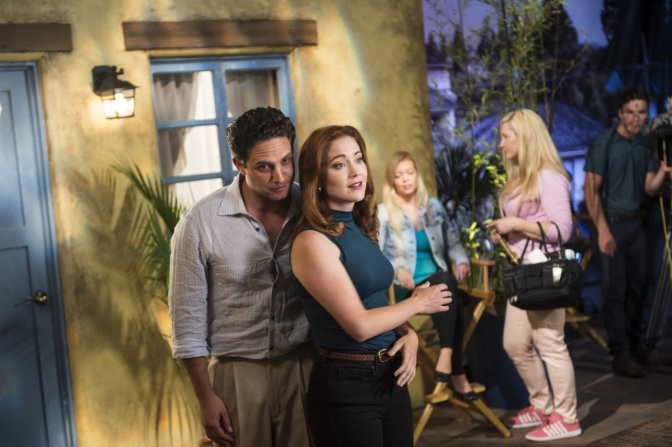 "(L to R)  Brandon Barash (""Thomas Calabro/Michael Mancini"") and Teagan Vincze (""Marcia Cross/Kimberly Shaw"") star in the all-new Lifetime movie, The Unauthorized Melrose Place Story, premiering Saturday, October 10, at 8pm ET/PT Photo by Sergei Bachlakov Copyright 2015"